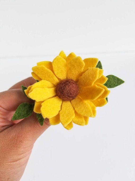 Felt Flower Headband, Flower Headband, Felt Flower Clip, Sunflower Headband #feltflowerheadbands