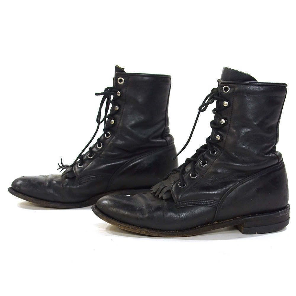 Justin Lace Up Ropers     Vintage schwarz Leder Ankle Stiefel   Packer ... 1f929f