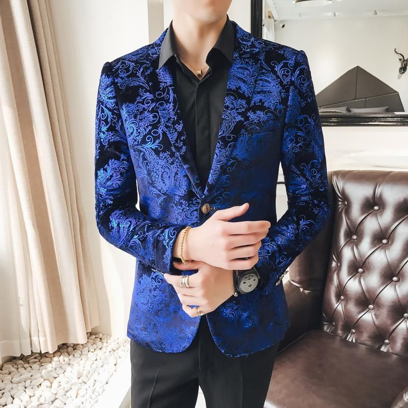 3b3d6a440 2 Button Blue Velvet Blazer Men Luxury Paisley Flower Pattern Fancy ...