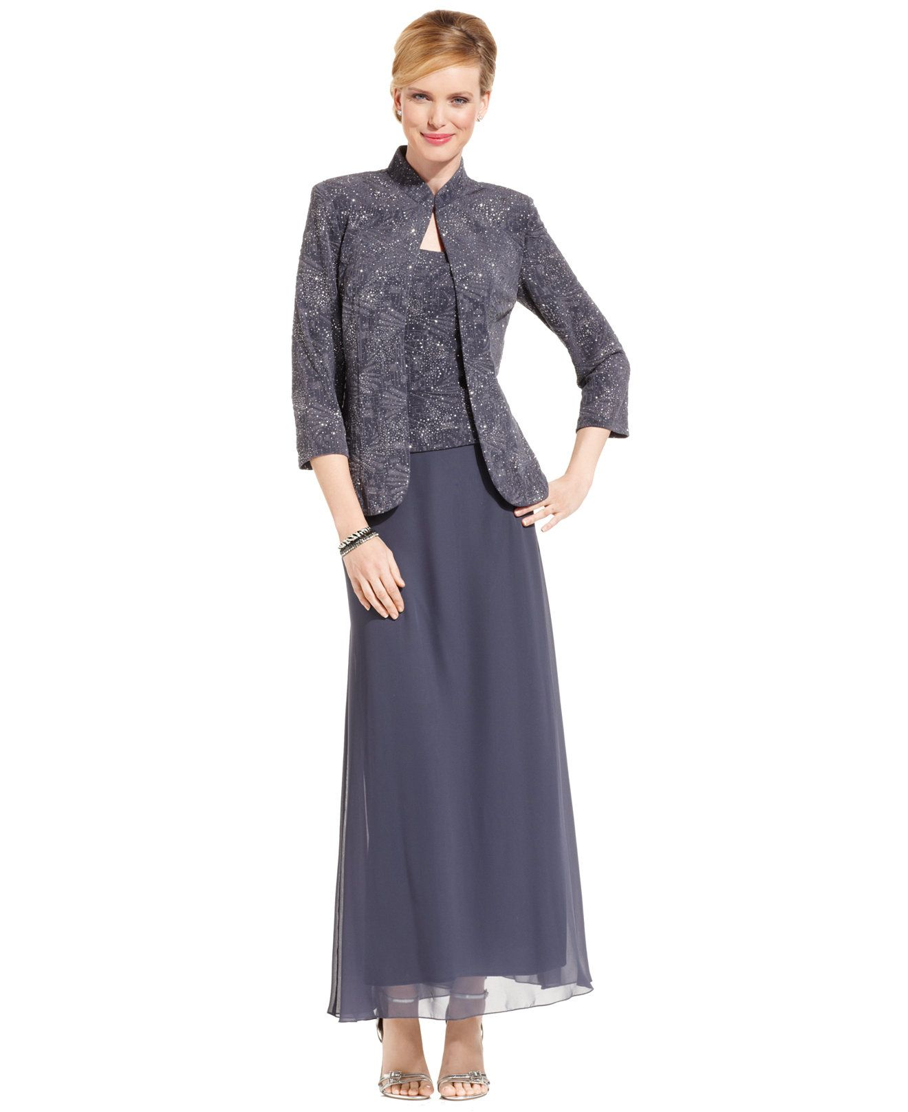 Alex evenings sleeveless jacquard sparkle gown and jacket dresses