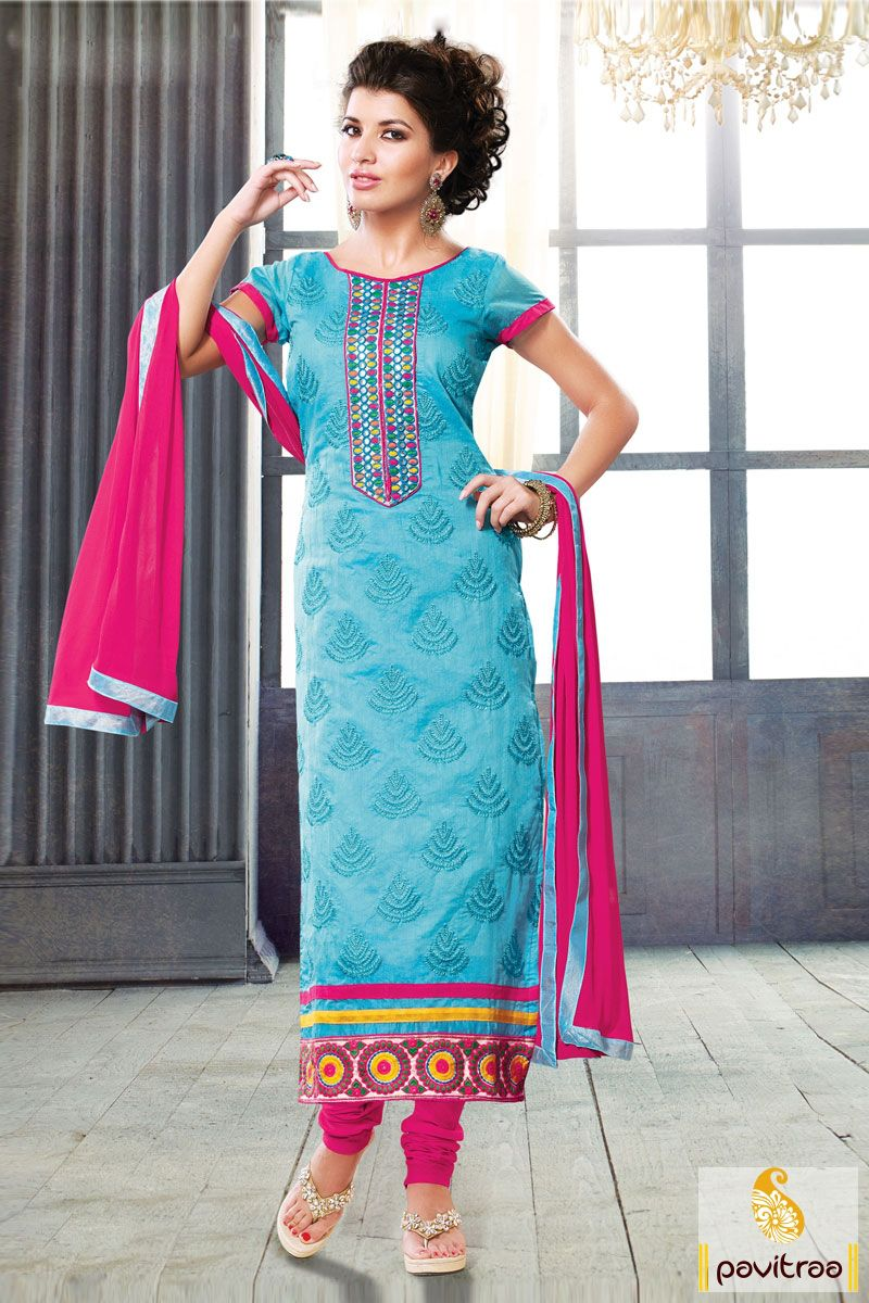 The fashionable and bright ice blue pink chiffon party wear salwar ...