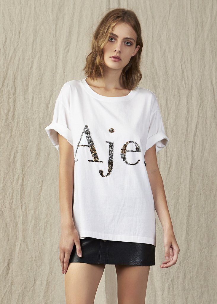 8e47f7224c7c3 2019 的Aje Sequin Logo Tee Multi Sequin White