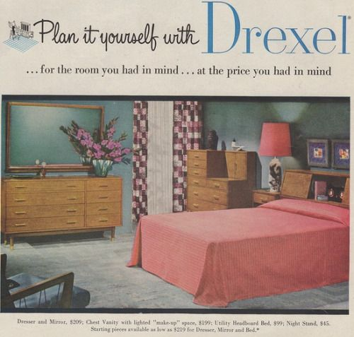 Drexel Bedroom Furniture Advertisement 1955 Retro Room Patio