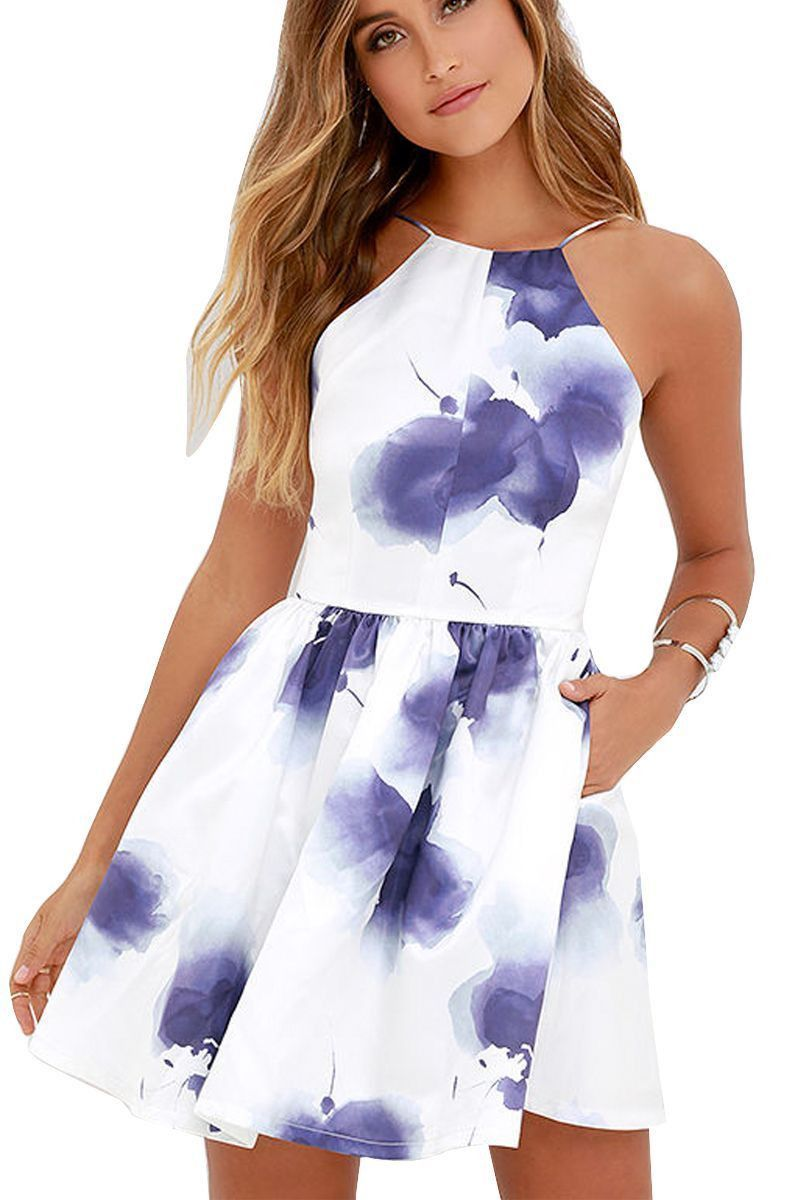 d150539e40 ... Blue Ink Printed Dresses In 2017. Fancyinn® Women Sexy Backless  Spaghetti Strap Floral Print Short Mini Casual Dress