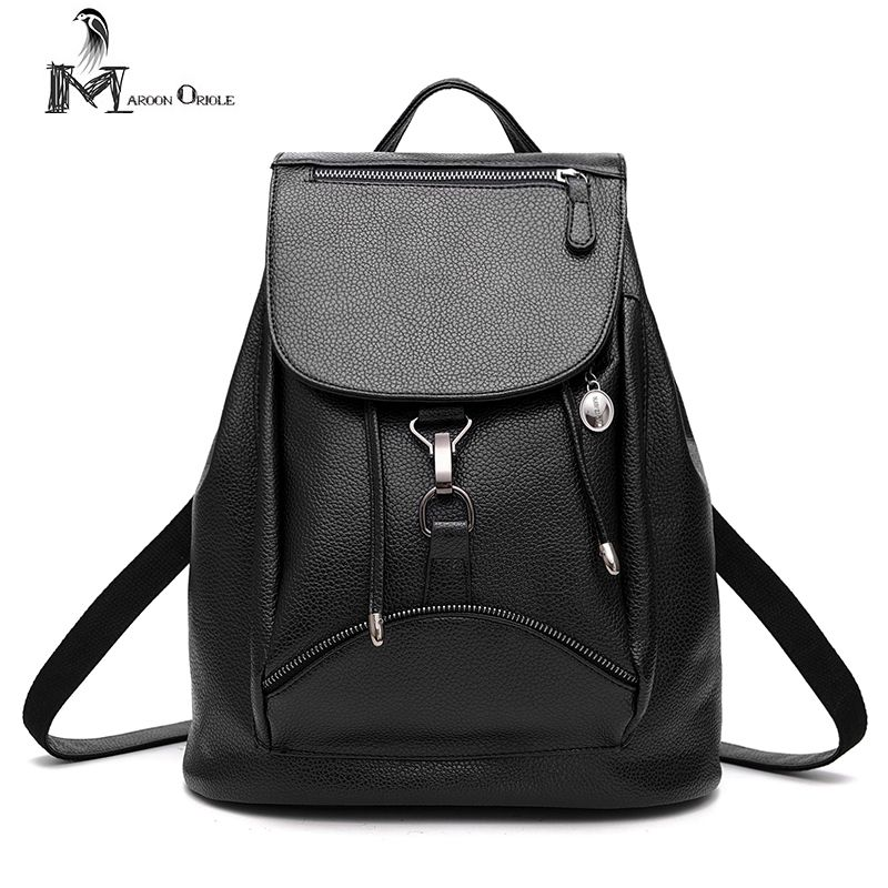 2017 new black leather backpack for women fashion rucksack PU ...