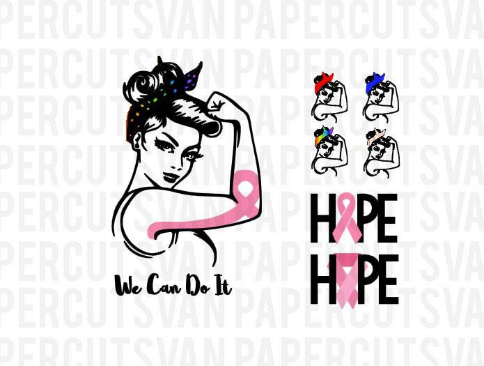 Rosie the Riveter SVG Cameo Cancer Awareness Hope We Can Do it ...
