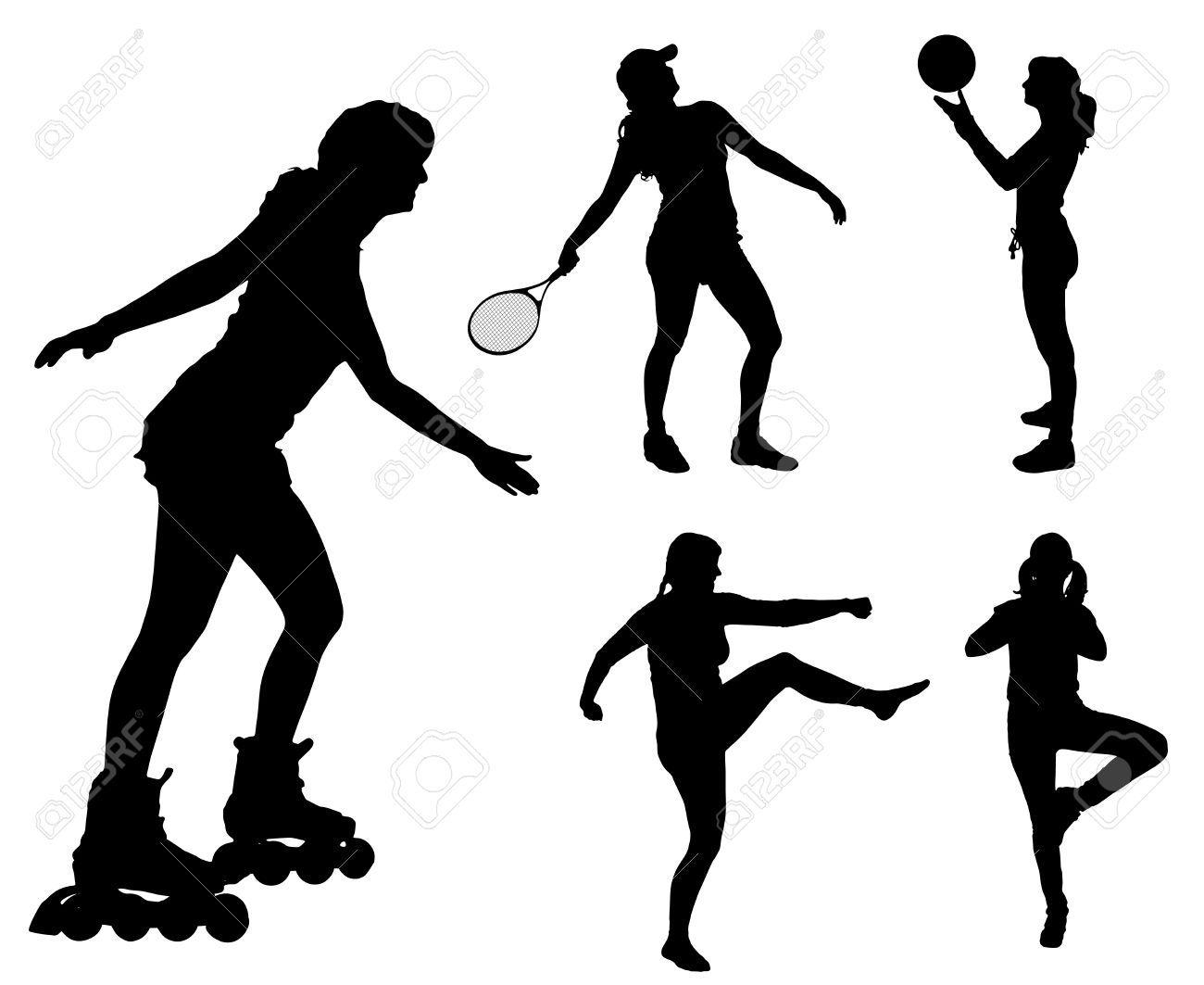 Deportes Diferentes Deportes: 34139649-Vector-siluetas-de-diferentes-mujeres-en
