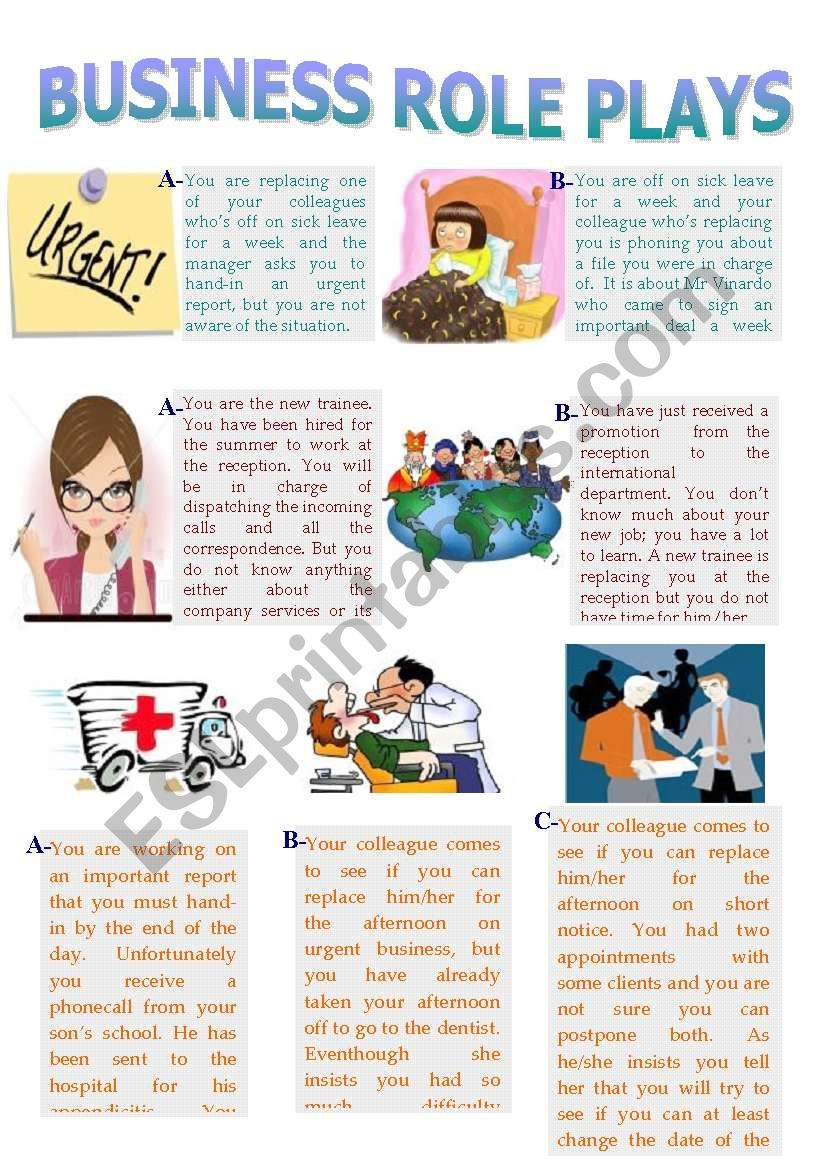 Business Role Plays Worksheet English Teaching Activities English Conversation For Kids Speaking Activities