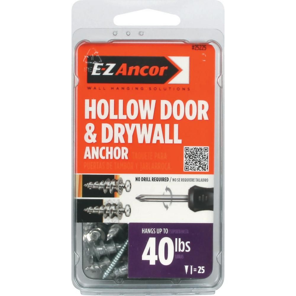 E Z Ancor 1 In Hollow Door And Drywall Anchors 25 Pack Drywall Anchors Drywall Hollow Metal Doors