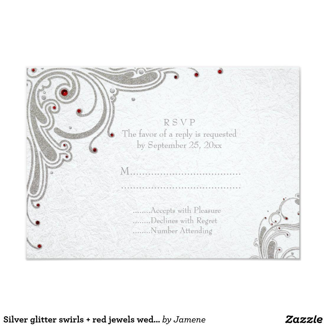 Silver glitter swirls + red jewels wedding RSVP Card   Silver ...