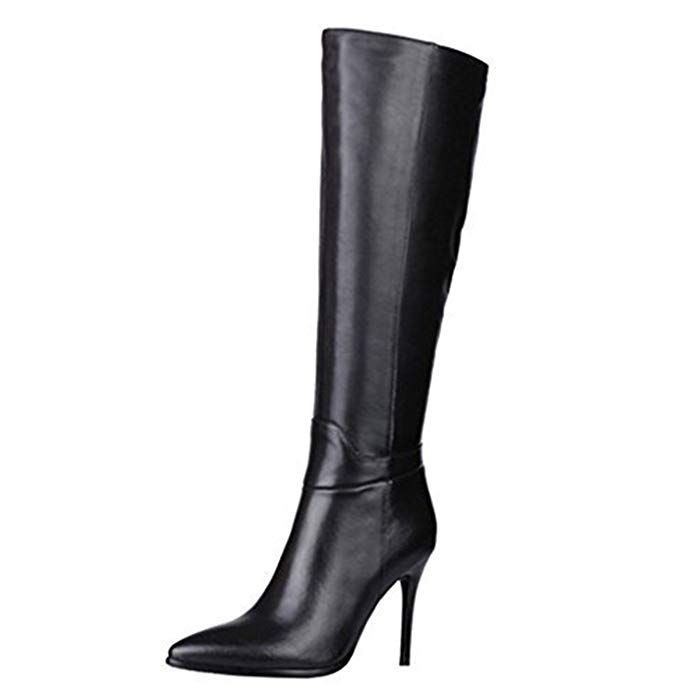 6bb577472bf MERUMOTE Women s Knee Boots Leather Thin Heels Shoes Dress Party Winter  Knee High Boots Review