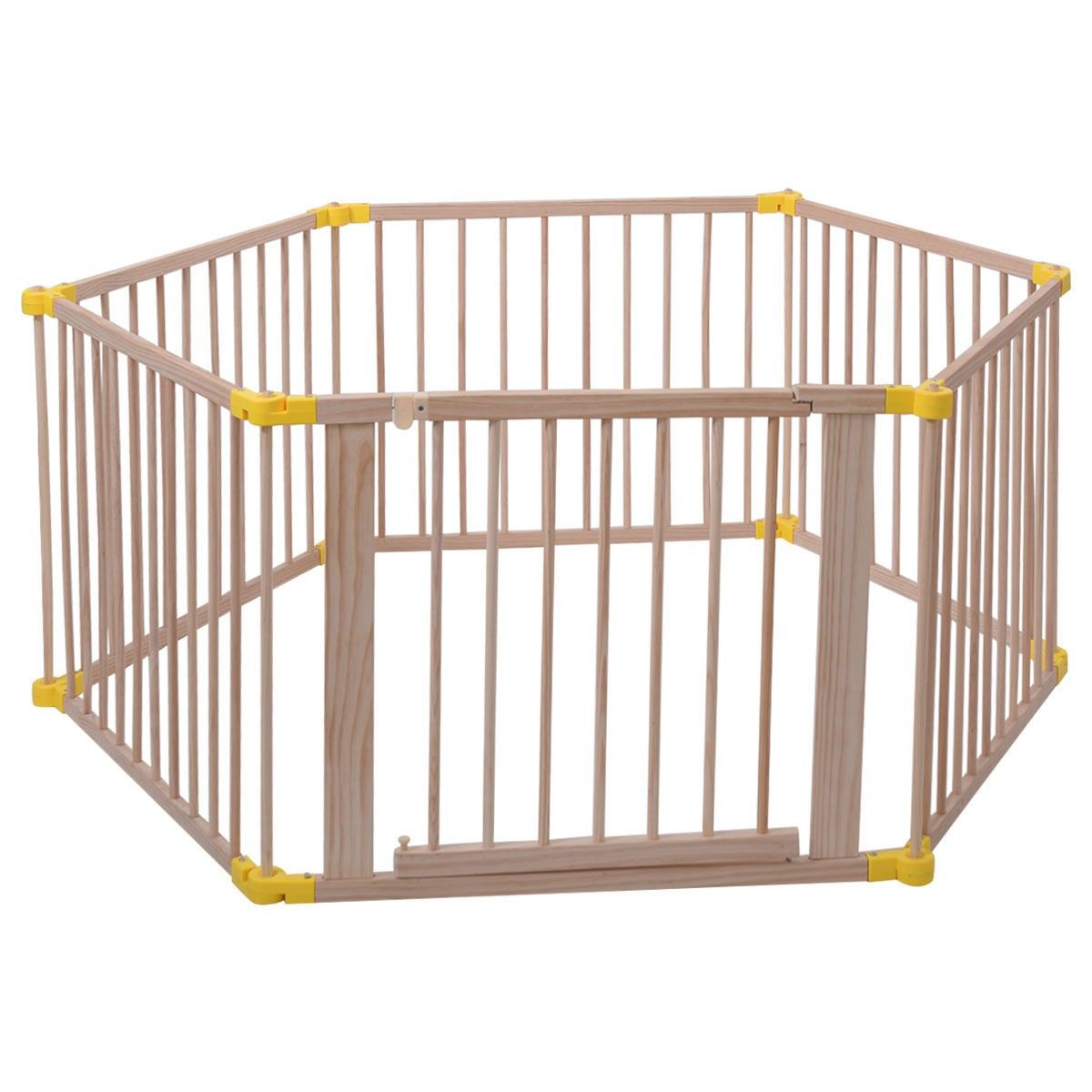 Baby Playpen 6 Panel Foldable Wooden Frame Kids Safety Play Fence