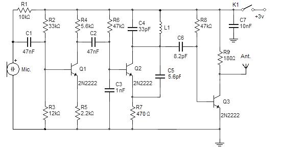 Simple Fm Wireless Microphone Schematic Microphone Wireless Electronic Schematics