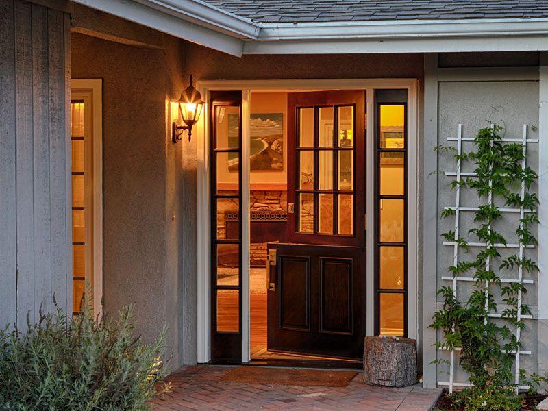 Fiberglass 9 Lite Dutch Door With Two Sidelights