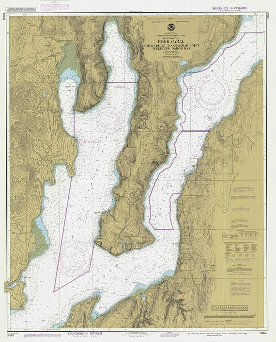 Hood Canal Map 1984 in 2019 | Products | Nautical chart, Map ...