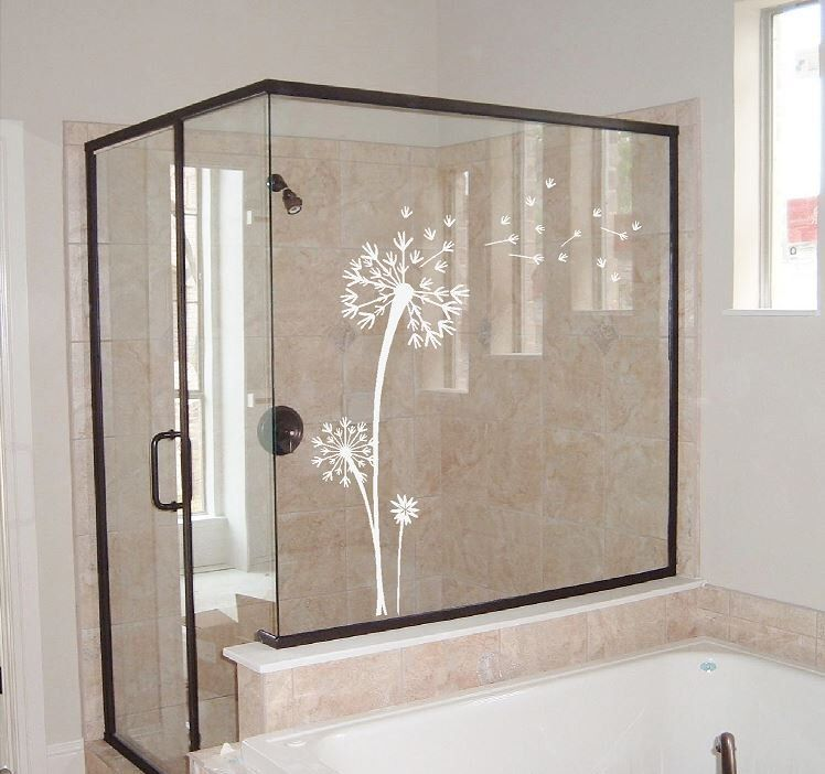 Dandelion Decal Etched Glass Vinyl Dandelion Wall Art Floral