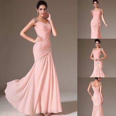 rosa chiffon abendkleider ballkleider damenmode gr36 38 40 42 44 günstig lang  dresses