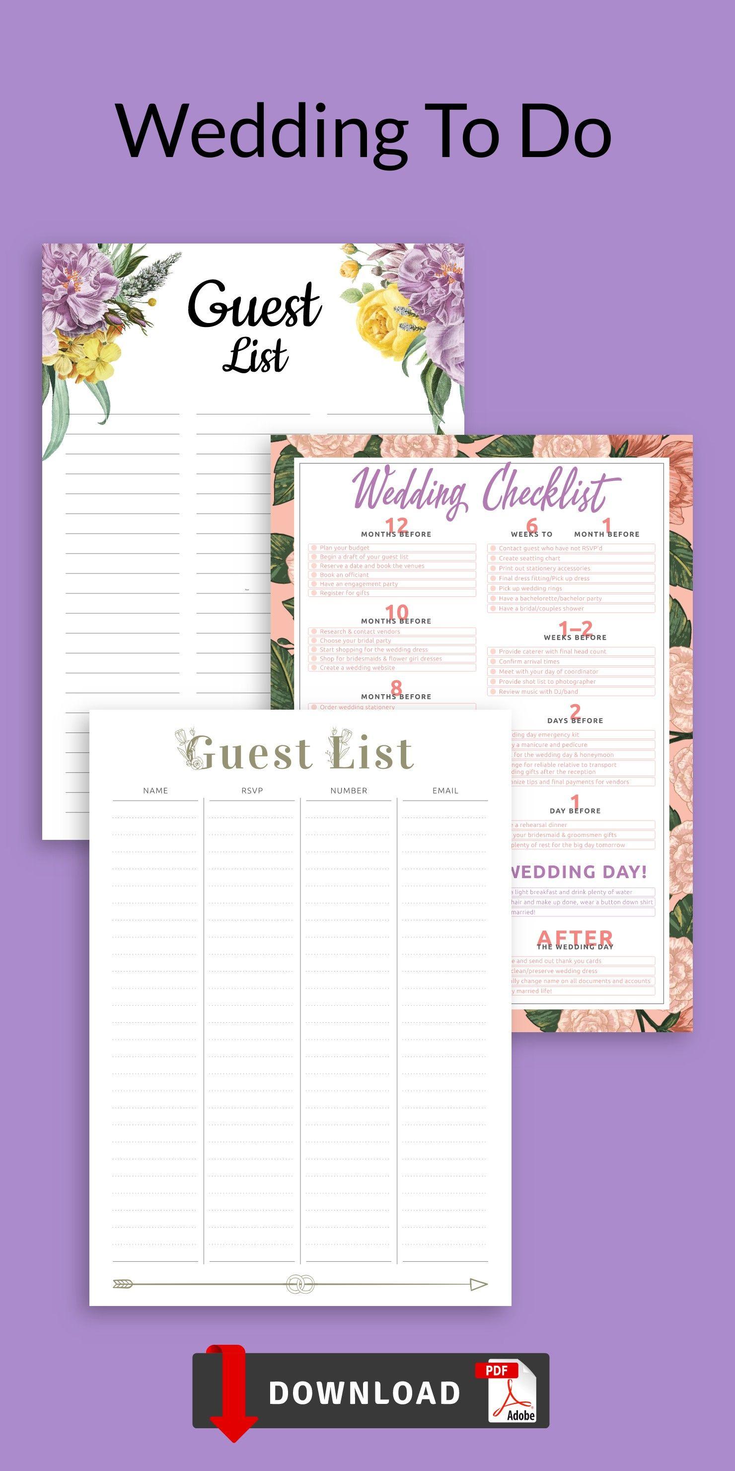 Wedding To Do List Template Wedding Checklist Wedding Etsy Wedding To Do List List Template To Do Checklist