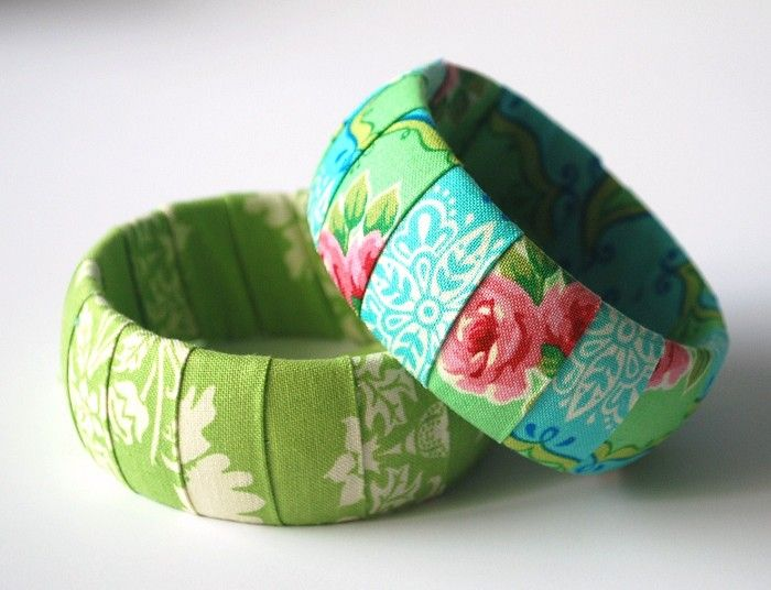 Summer Rose Bangle Set in Blue & White + Green & Pink from Ooakbags on Madeit (AUD $14.95).