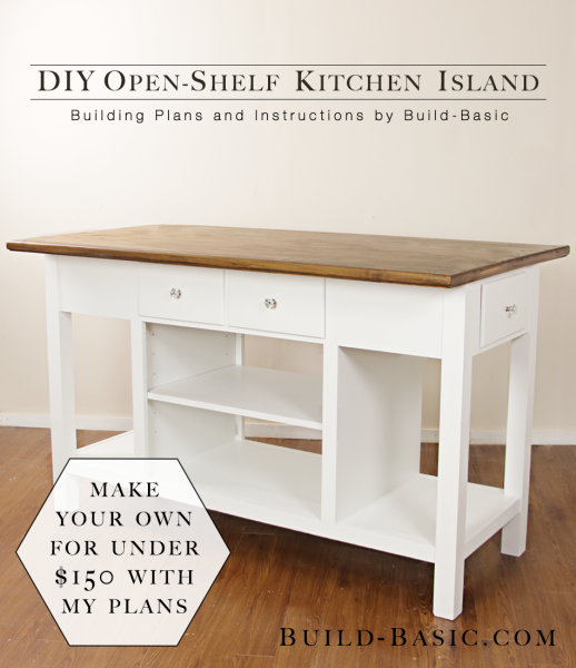 Build a diy open shelf kitchen island building plans by for Island cabinet plans
