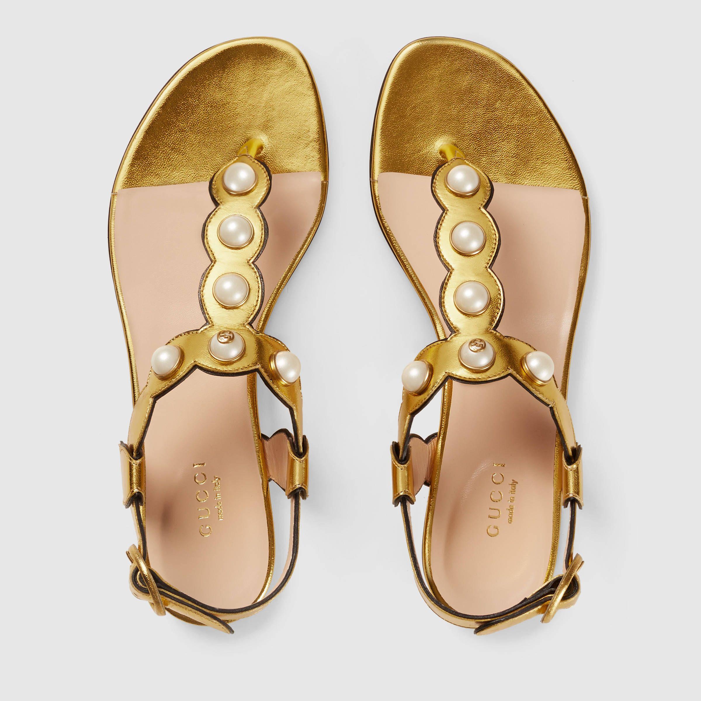 Gucci Women - Leather thong sandal - 424085B8B008016