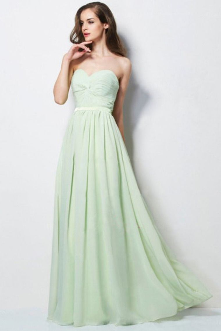 sage a line sweetheart floor length prom dress