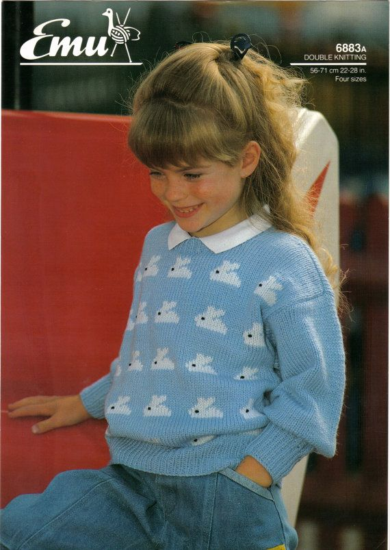 7fa8c455cb98dc Emu 6883A Girls Sweater Pattern Bunny Rabbit Design Easter Double Knitting  Size 22 - 28 Chest. One page leaflet with slight creases. See