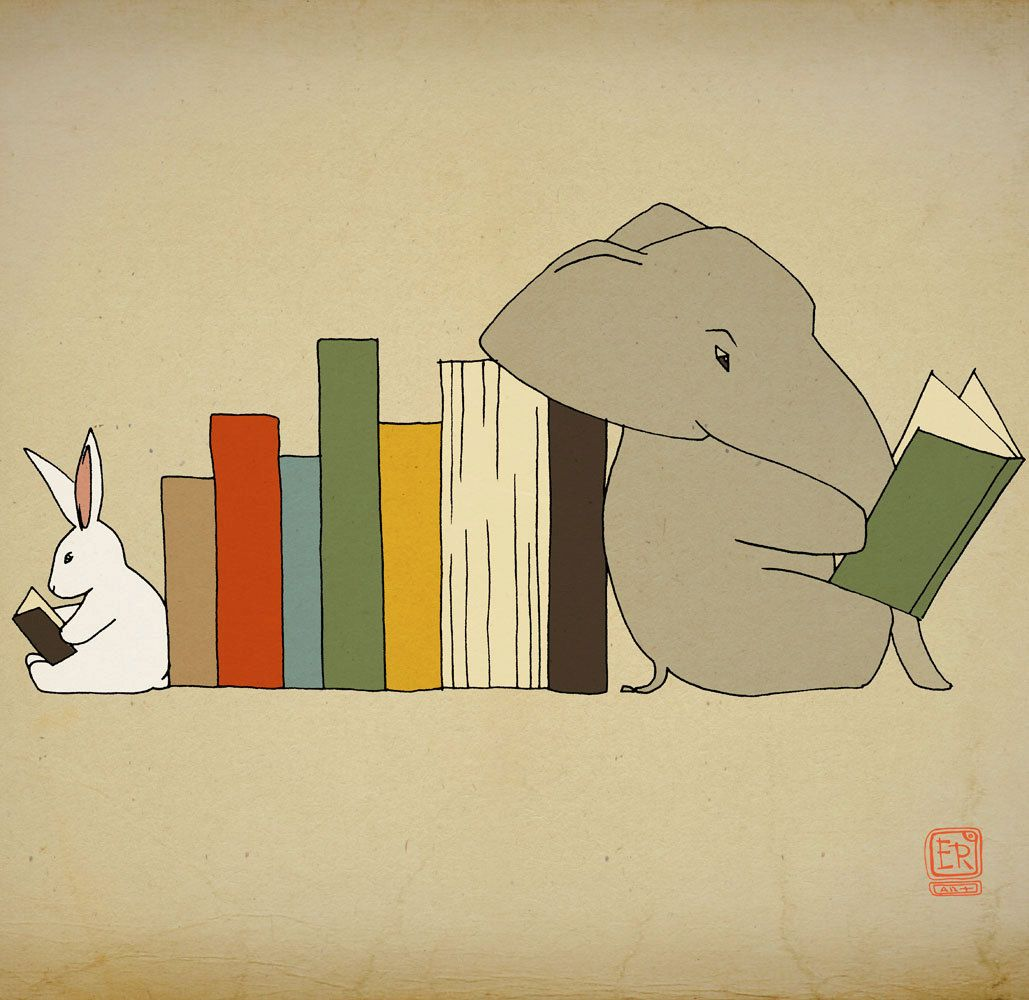 Elephant and bunny illustration kids art print by LeniSomnia, $36.00 ...