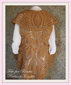 Colete de croche modelo circular. Pode ser usado de diversas maneira ... af341625c8a93