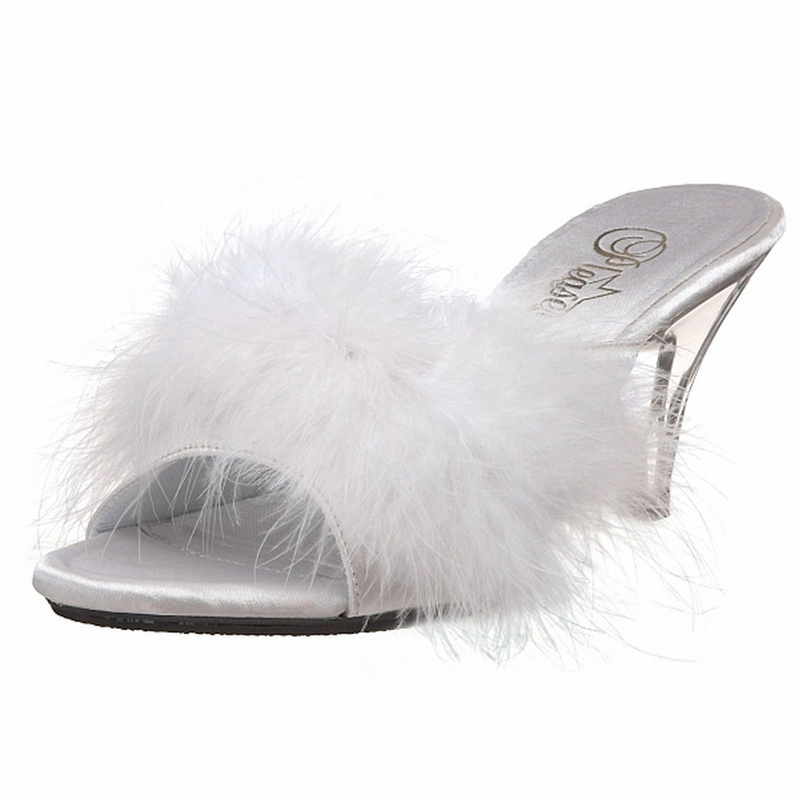 12c3d6cf8f4 Fabulicious Heels Satin Marabou Faux Fur Sexy Slipper Sandal Belle-301F  White