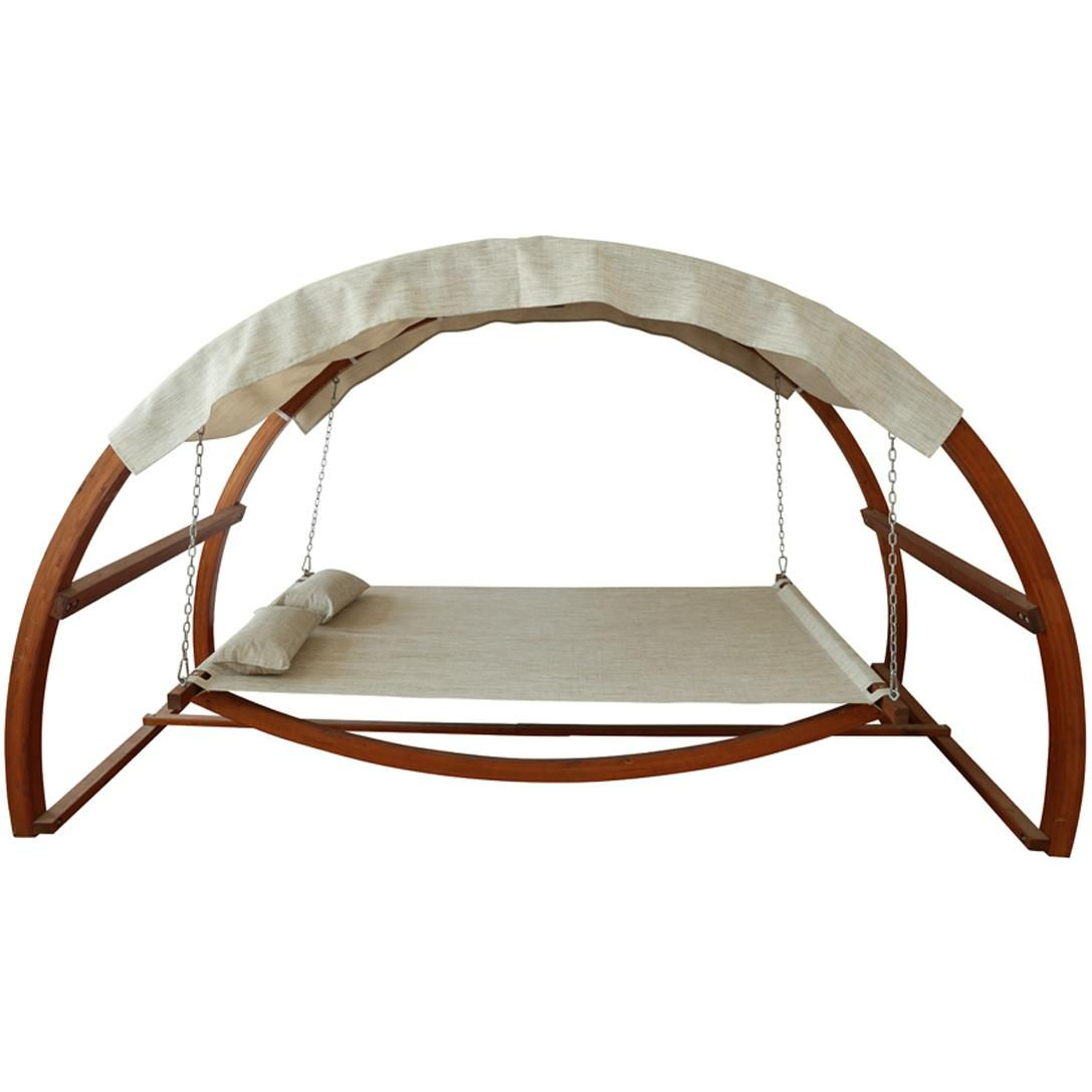 Leisure Season 10 1 2 Foot Wood Outdoor Swing Bed With Canopy Patio Swing Backyard Hammock Canopy Swing