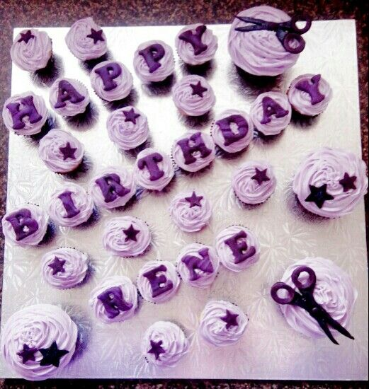 Purple scissor cupcakes for a friends  bday