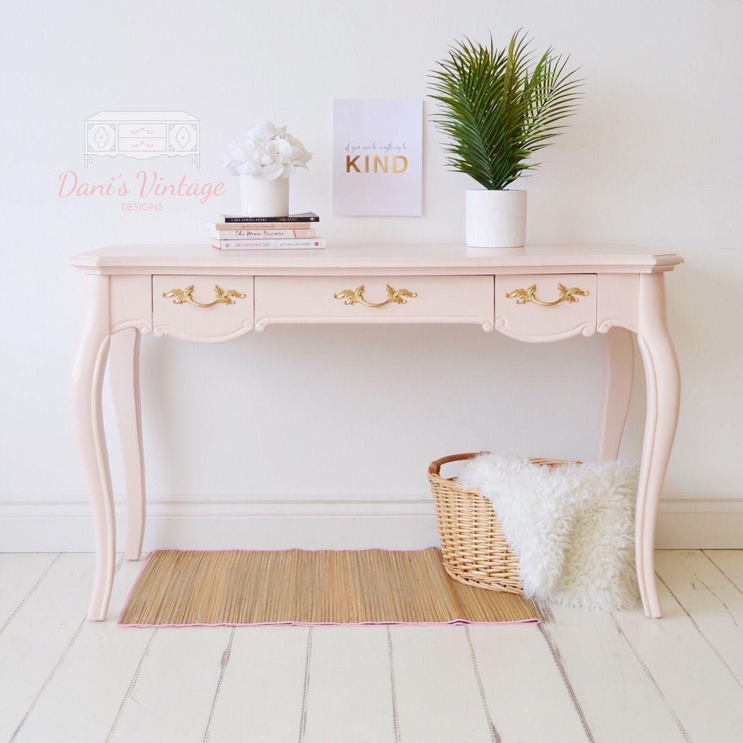Blush Pink Desk Entry Table Chalk