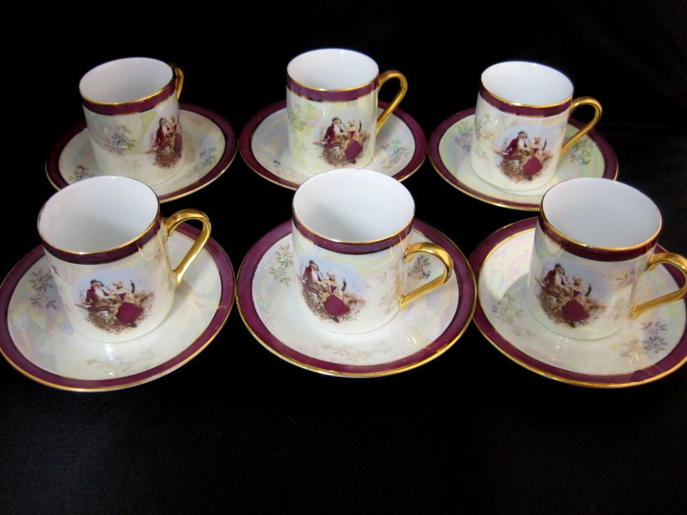 Tiger Yedi Inc Fine Porcelain Japan Style 6 Demitasse Coffee Cups ...