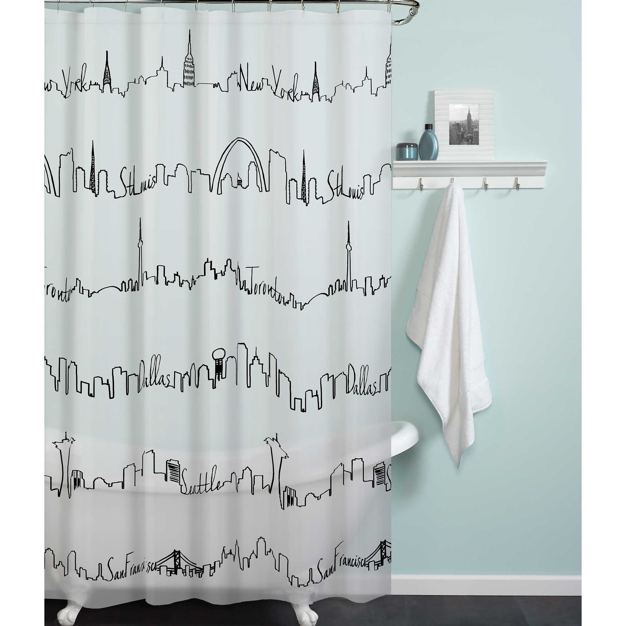 Peva Cityscape Shower Curtain Shower Curtain Main Bathroom Ideas Black White Shower Curtain