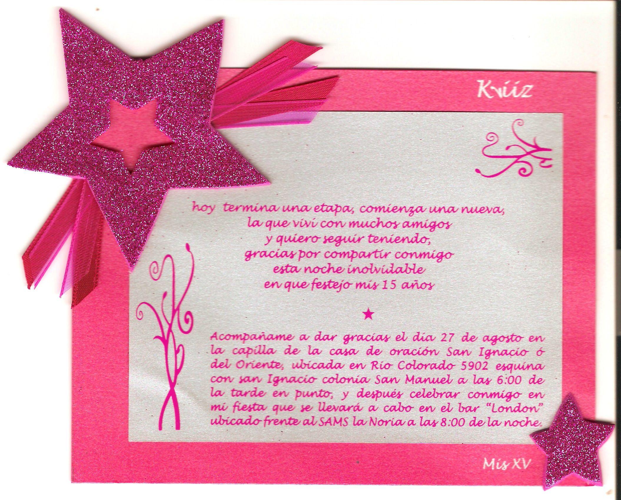 Textos Para Invitaciones 15 Anos: Invitación Para XV Años, En Cartulina Y Papel, Dibujos Y