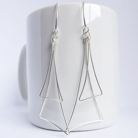brincos triângulos | prata - fabulous silver  triangle earrings - hand crafted jewelry