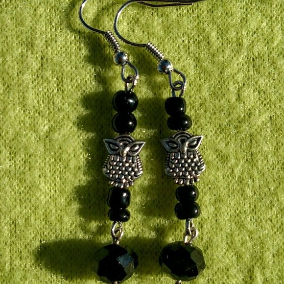 Owl earrings Sliver plates owls with dangles Jewelry Earrings