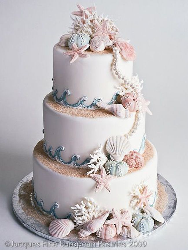 Elegant Beach Wedding Cakes