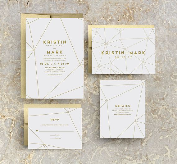 5ba0f4888e130 Gold Wedding Invitation, Modern Wedding Invitation, Geometric ...