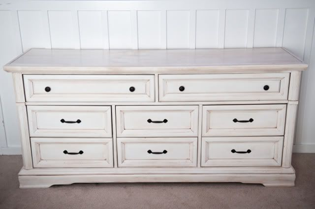 Repainted Dresser, Simple White With Light Distressing