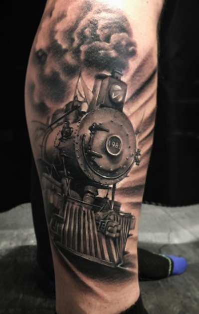 Locomotive Tattoo Inkstylemag Train Tattoo Leg Tattoos Steam Train Tattoo