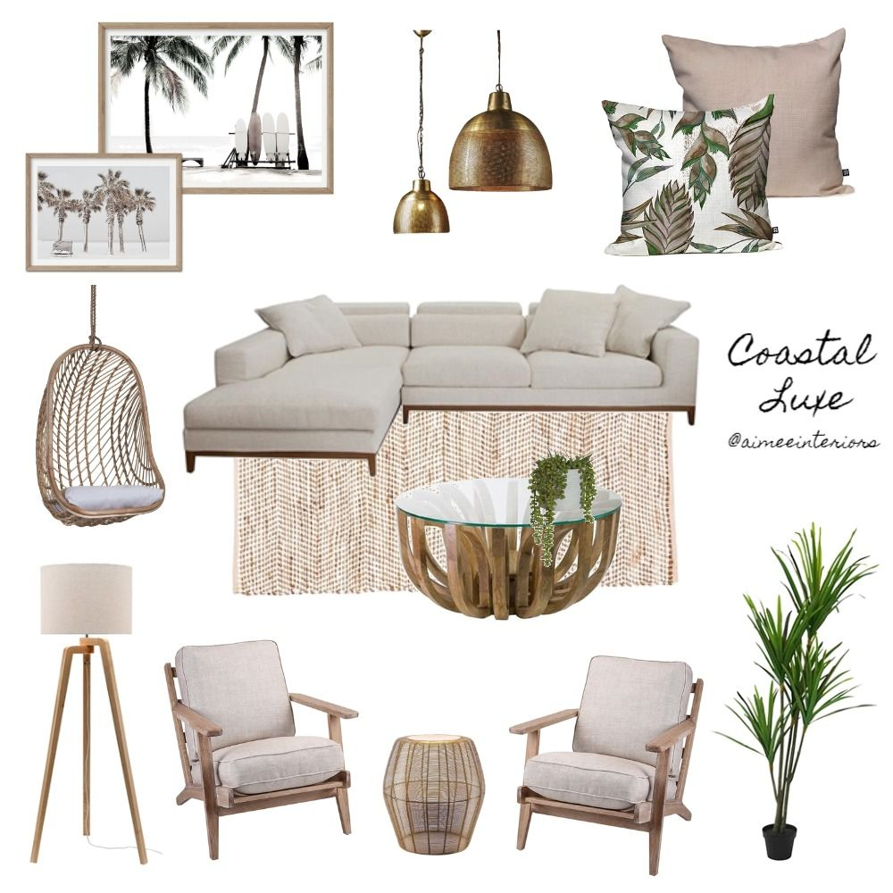 Coastal Living Room Mood Board #coastallivingrooms