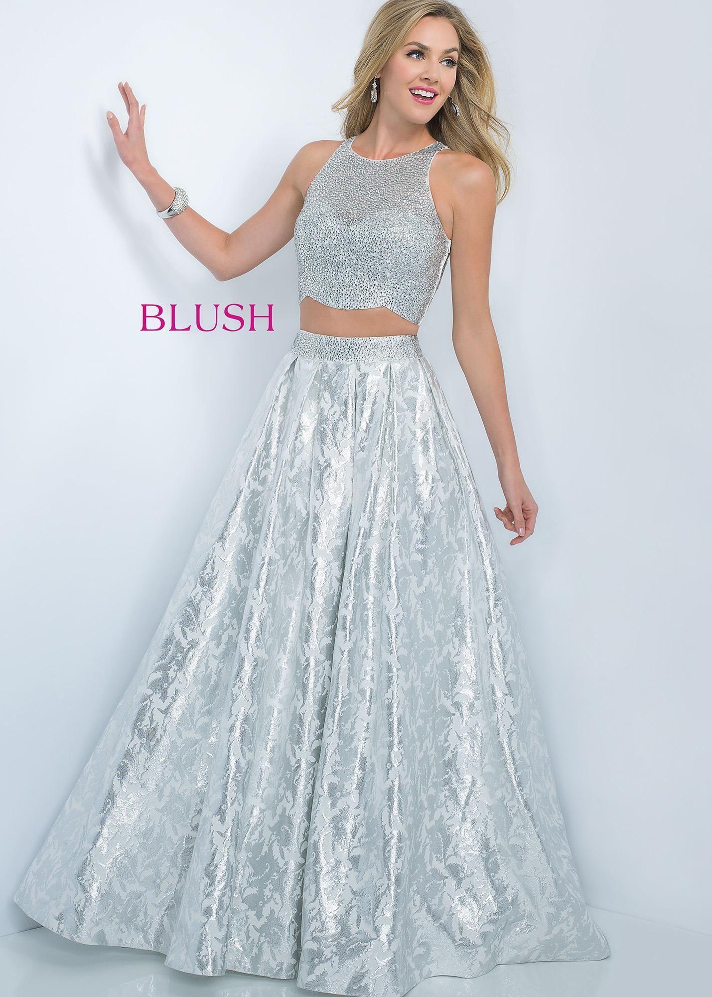 By Blush 5508 Shiny Metallic Two Piece Prom Dress | Prom Dresses ...