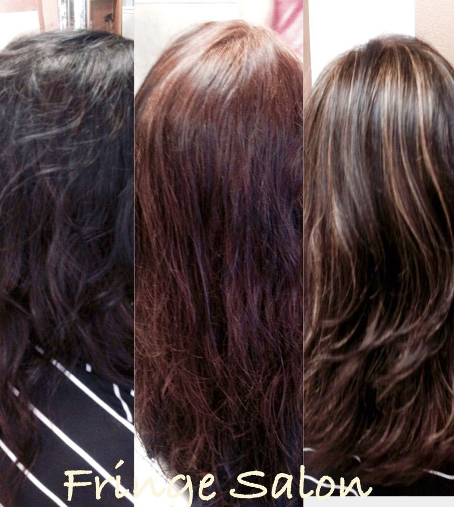 Before And After Transformation Color From Black Box Dye To Beautiful Brown With Highlights Black Hair Dye Model Hair Box Hair Dye