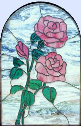 Custom stained and leaded glass pink roses window for Rose window design