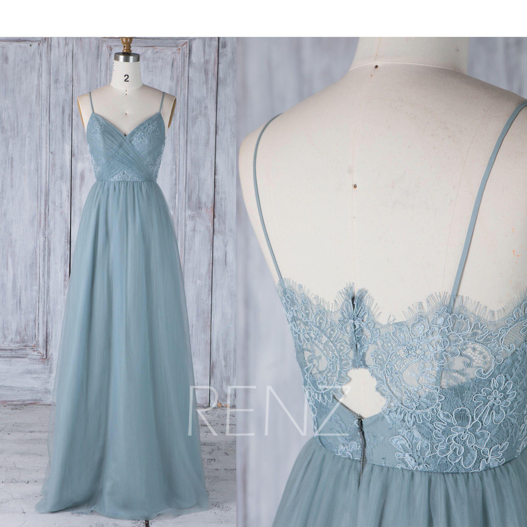 Bridesmaid dress dusty blue spaghetti straps tulle wedding dress