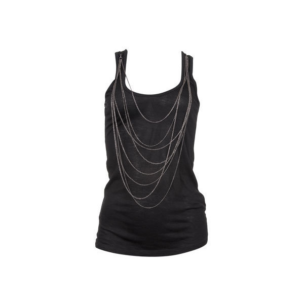 Detachable Chain Top (€19) found on Polyvore featuring tops, shirts, tank tops, tanks, blusas, black top, racer back shirt, shirts & tops, black shirt and racerback tank