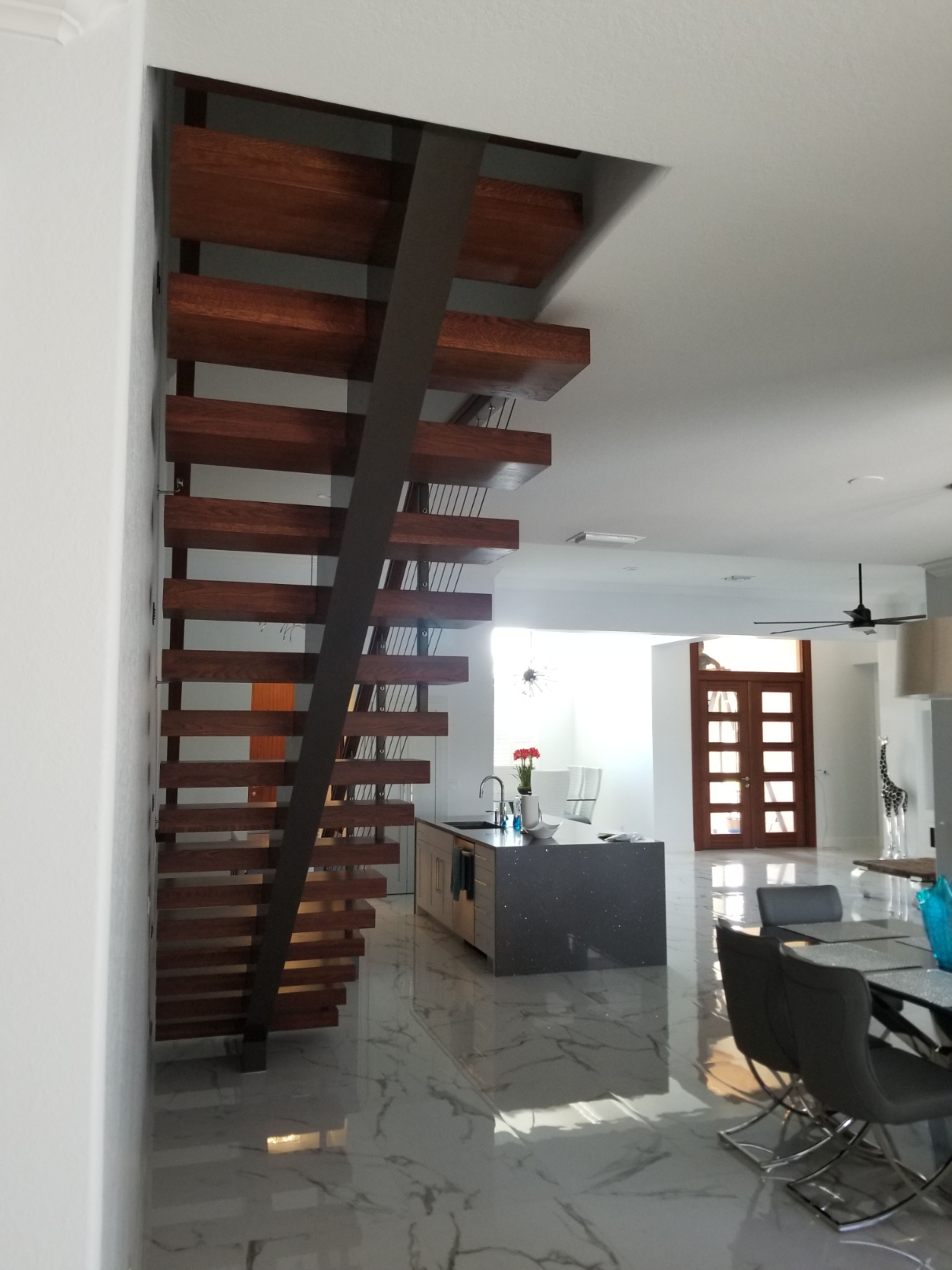 Best Beautiful Middle Stringer Stair With Floating Sapele Also 640 x 480