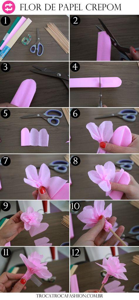 Flor De Papel Crepom Flores De Papel Crepom Papel Crepom E